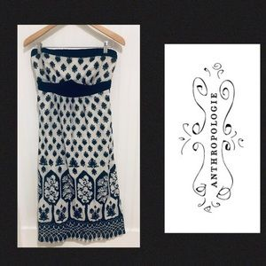 Anthropologie Maeve boho print strapless Dress 6